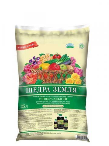 """Субстрат """"Щедра земля"""", универсальный 25 л"""