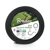 Бордюр газонный, черный с колышками, длина 10 м, высота 3,8 см - BRADAS