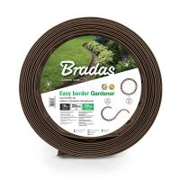 Бордюр газонный, коричневый с колышками, длина 10 м, высота 3,8 см - BRADAS
