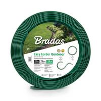Бордюр газонный, зеленый с колышками длина 10 м, высота 3,8 см - BRADAS